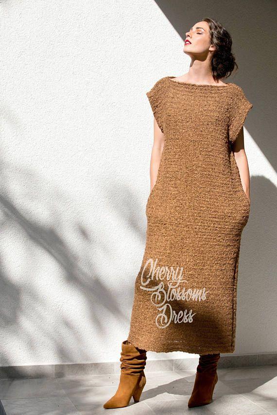55aceb2cb21 Brown dress  Knitted dress  oversized dress  Long dress
