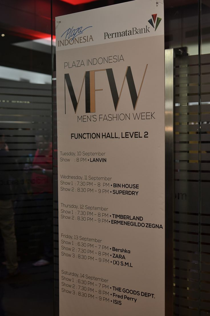 Men's Fashion Week 2013 - Plaza Indonesia schedule
