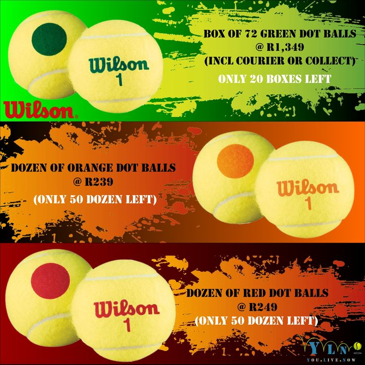 Not to be missed, Massive Wilson DOTTED BALL SPECIAL!!! Order your dotted tennis balls TODAY!!! http://www.youlivenow.co.za #wilsongreendot #wilsonreddot #wilsonorangedot #greendotball #orangedotball #reddotball #wilsonballs #tennisballs