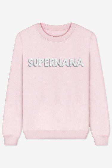 Le sweat rose pastel à avoir dans ses placards ! Parce que vous êtes une : Supernana – brodé - Rad