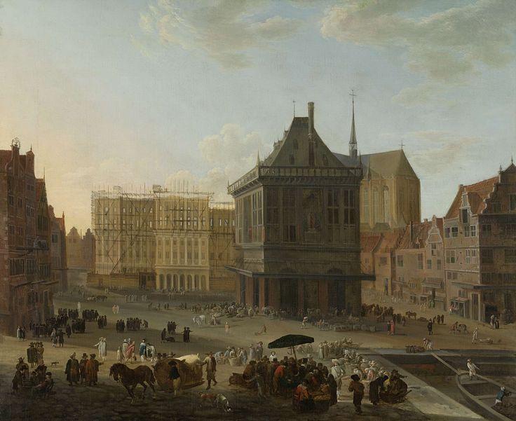 De Dam te Amsterdam met het nieuwe stadhuis in aanbouw, attributed to Jacob van der Ulft, 1652 - 1689