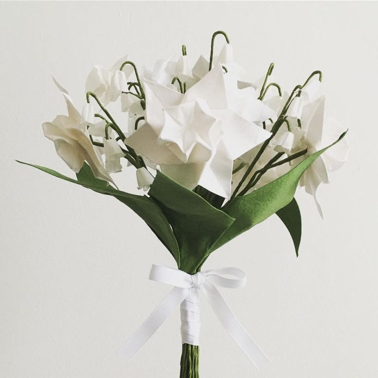 Daffodil and lily of the valley Origami wedding flowers. Textile Origami flowers. Keepsake bouquet.