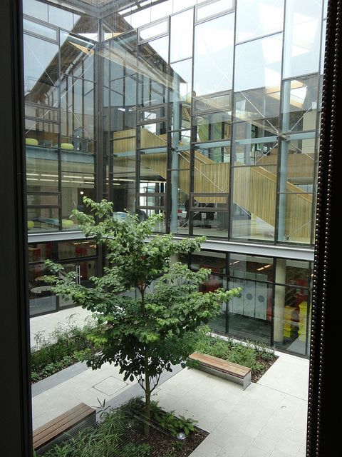 Looking out onto landscaped area, University of Exeter