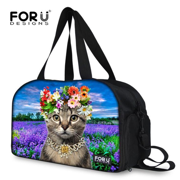Cute Pet Cat Animal Print Women Travel Duffle Bag Casual Flower Women Canvas Travel Bag Large Capacity Travel Duffel Tote Bags