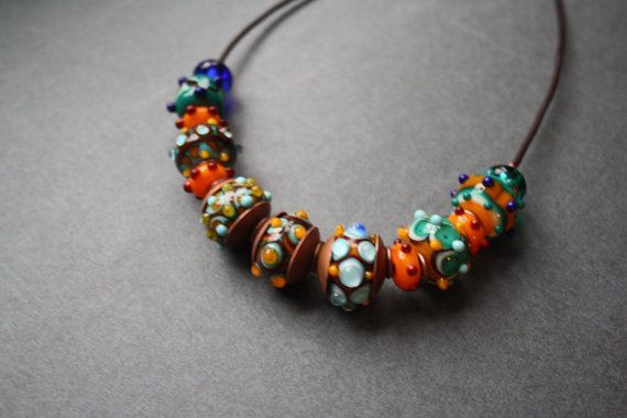 Сolorful beads. Glass copper leather от LikeAGlassShop на Etsy