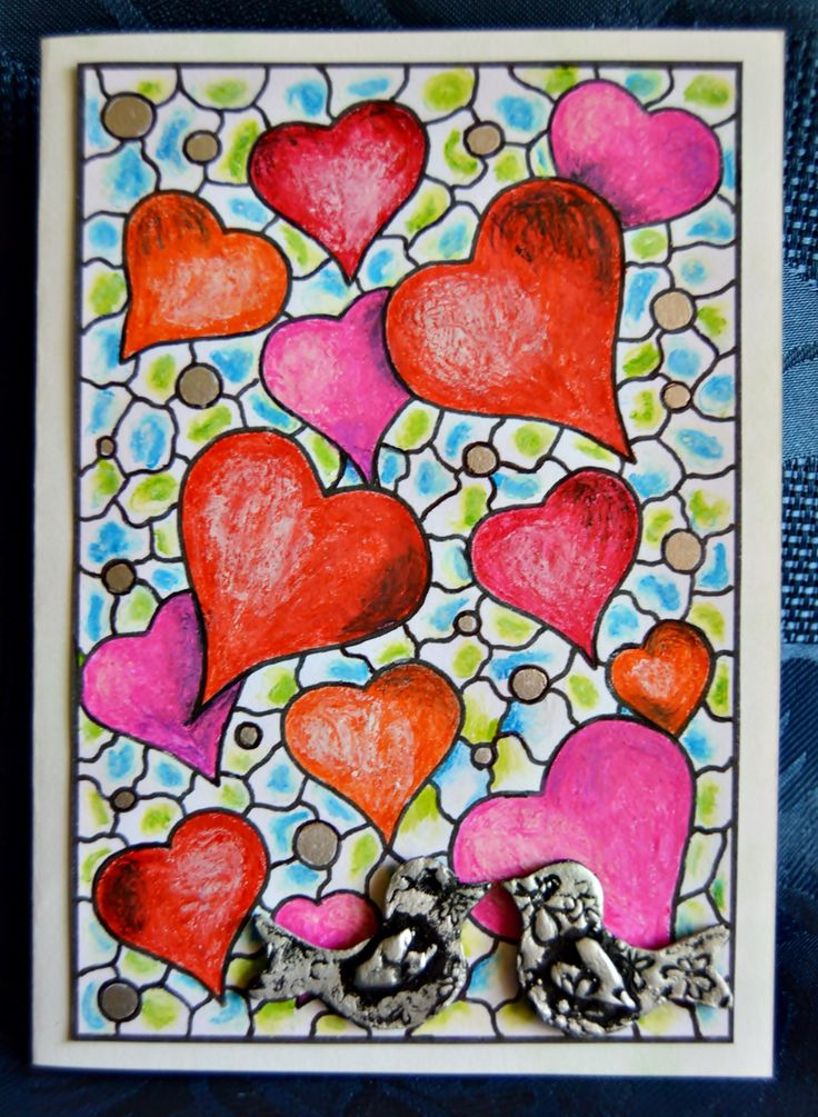 Turn a mini adult coloring page into this stunning DIY card for Valentine's Day! #FaveCrafter