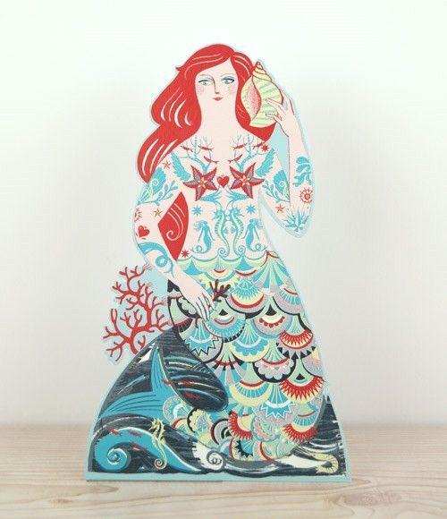 'Meryl the Mermaid' die cut greeting card by Sarah Young