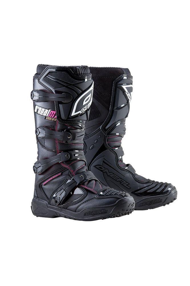 Oneal 2015 Womens Element Motocross Dirt Bike Boots + Free Socks - Black/Pink in eBay Motors | eBay