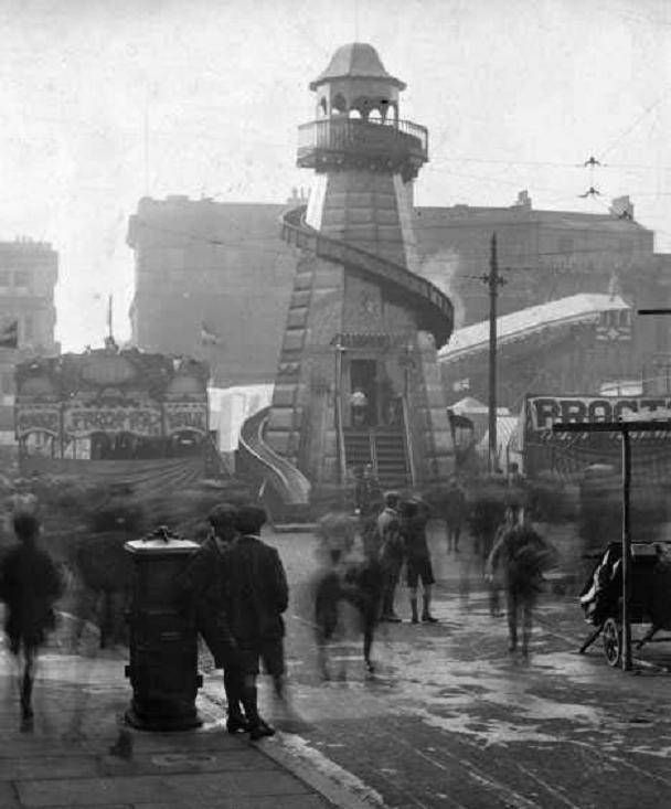Helter Skelter, Goose Fair, Old Market Square, Nottingham, c 1925 Credit: Picture the Past