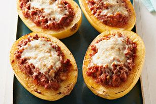 This lasagna recipe features the meat sauce and cheese stuffed in spaghetti squash shells.