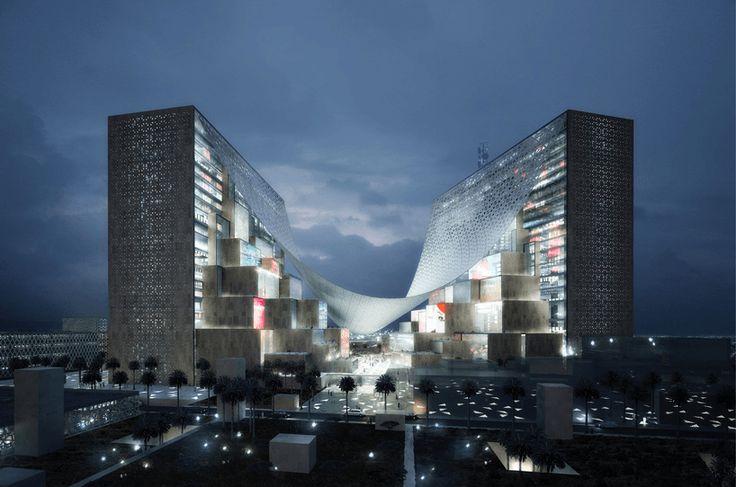 Всемирно известная архитектурная фирма BIG предложила свой проект строительства огромного медиацентра для Ближнего Востока.