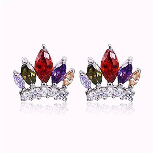Globalmate Fashion Jewelry Crown Crystal Earrings