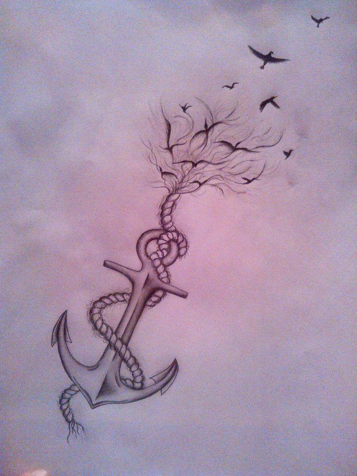 Anchor/bird tattoo by hogusia.deviantart.com on @DeviantArt                                                                                                                                                                                 More