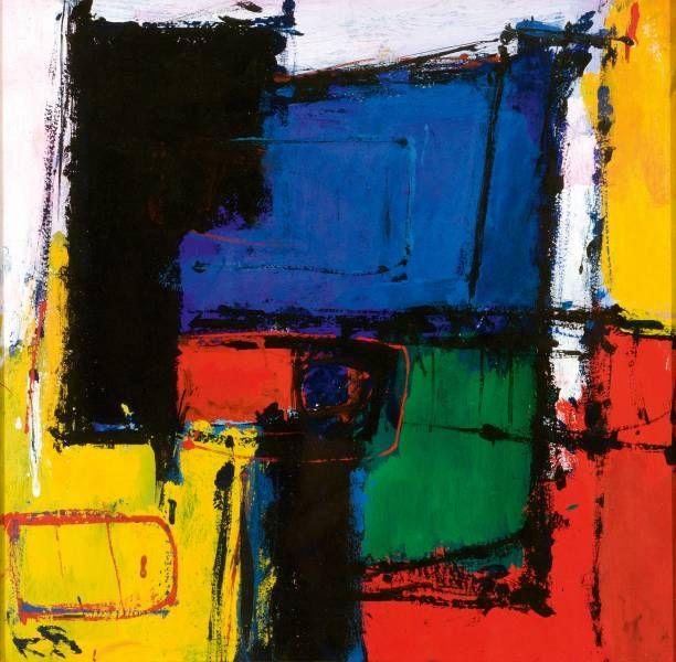 Karel Bleijenberg (1913-1981)  Abstract l.o. get. in initialen gemengde techniek op board, 37x37 cm  950 E
