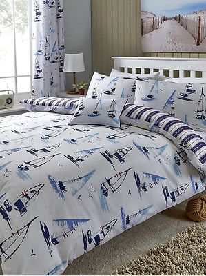 White and Blue Padstow Boat and Yacht Bedroom Range - Bedding Cushion Curtains