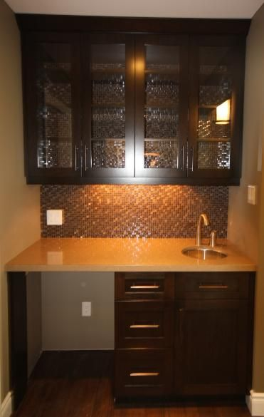 Small Wet Bar Ideas The Wet Bar Features Cherry Cabinets