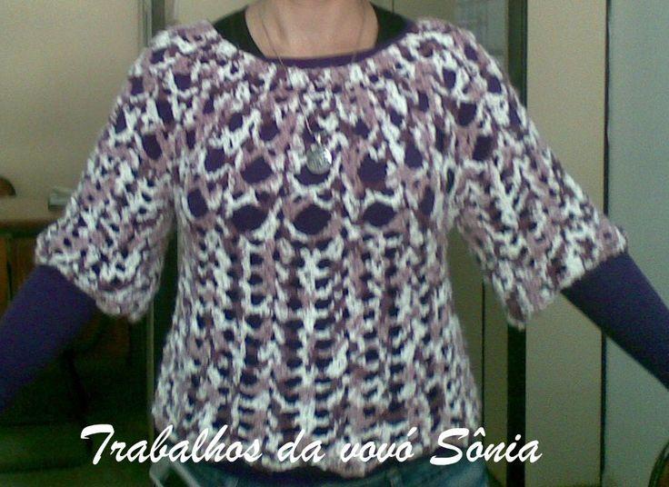 Trabalhos da vovó Sônia: Blusa lilás Margot - crochê