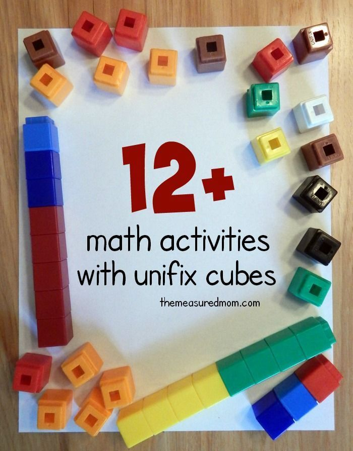 What a great variety of math activities using unifix cubes! Love the links to free printables.