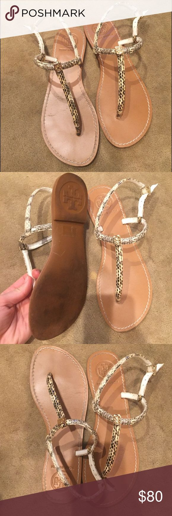 Tory Burch Sandals T strap snake print sandals. In really good condition only worn a handful of times. Grey neutral sandal, only selling because I wear my other TB sandals more often. Tory Burch Shoes Sandals