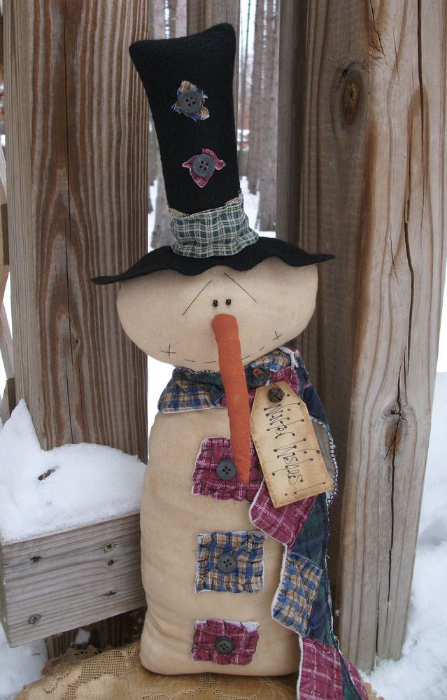 Folk Art PrimiTive ChrisTmas WinTer OLD QUILT SNOWMAN DOLL Door Decoration Tag #NaivePrimitive #MelissaHarmon