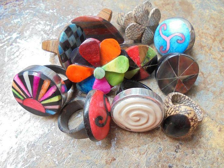 10 organische Ringe aus Indien Hippieschmuck Hippie Goa Großhandel Holz