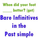 Exercise and answers to test understanding of the bare infinitive as used in the past simple.