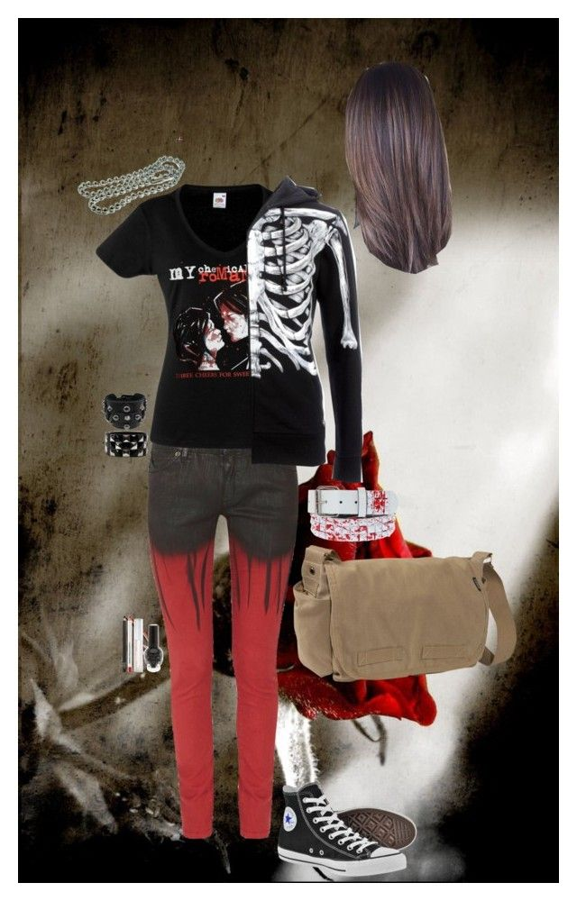 """""""Look 2-10"""" by candy-coated-doom ❤ liked on Polyvore featuring Superfine, Converse, Iron Fist, Everest, Pori, Hayden-Harnett, NARS Cosmetics, Obsessive Compulsive Cosmetics, Hot Topic and emo"""