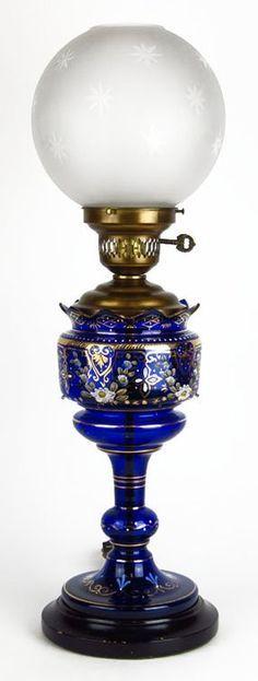 bohemian hurricane lamps   ANTIQUE BOHEMIAN COBALT HURRICANE LAMP