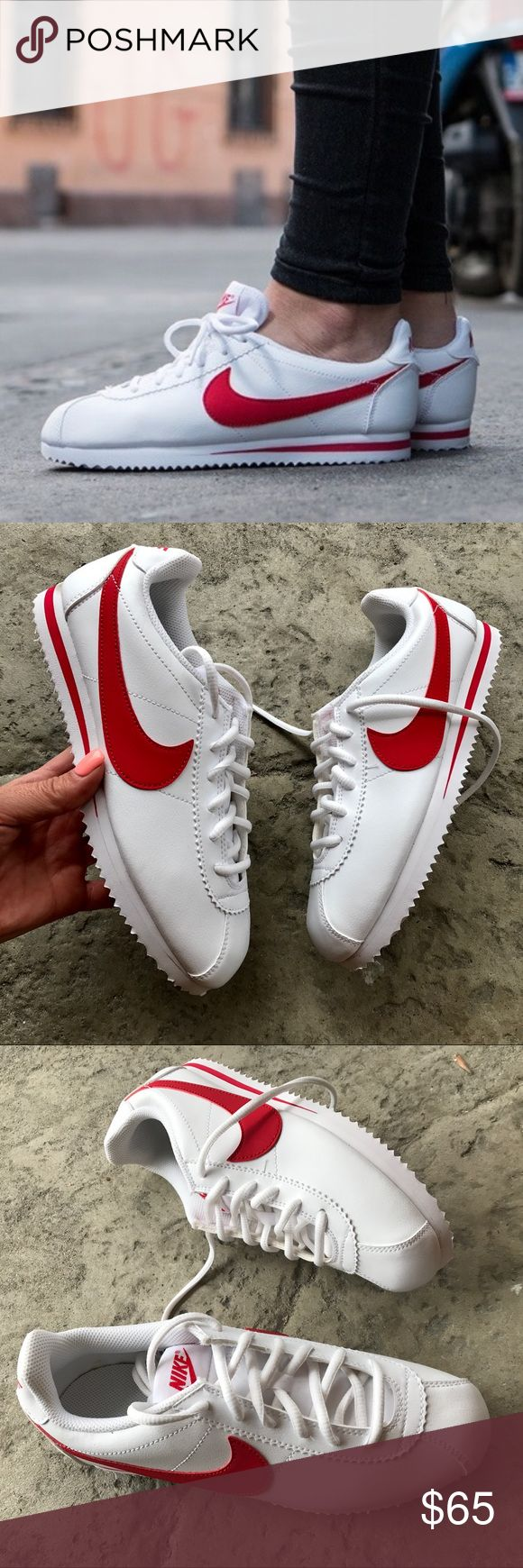 NEW ❤️ NIKE CORTEZ RED & WHITE LEATHER New never worn 😍 NIKE CLASSIC CORTEZ | WHITE & RED | LEATHER. Runs small. I can help with sizing questions.  📍ORDER YOUR WOMANS SHOE SIZE📍  Size 6 youth approx = size 7 - 7.5 women  NO ORIGINAL BOX, smoke free home.  PRICED FIRM. 100% authentic & direct from NIKE ❤️ Nike Shoes Athletic Shoes