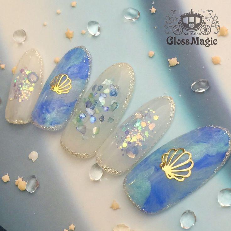 ネイル 画像 Nail Salon Gloss Magic 渋谷 1584807 青 白 シェル ラメ マーブル 夏 海 ソフトジェル ハンド