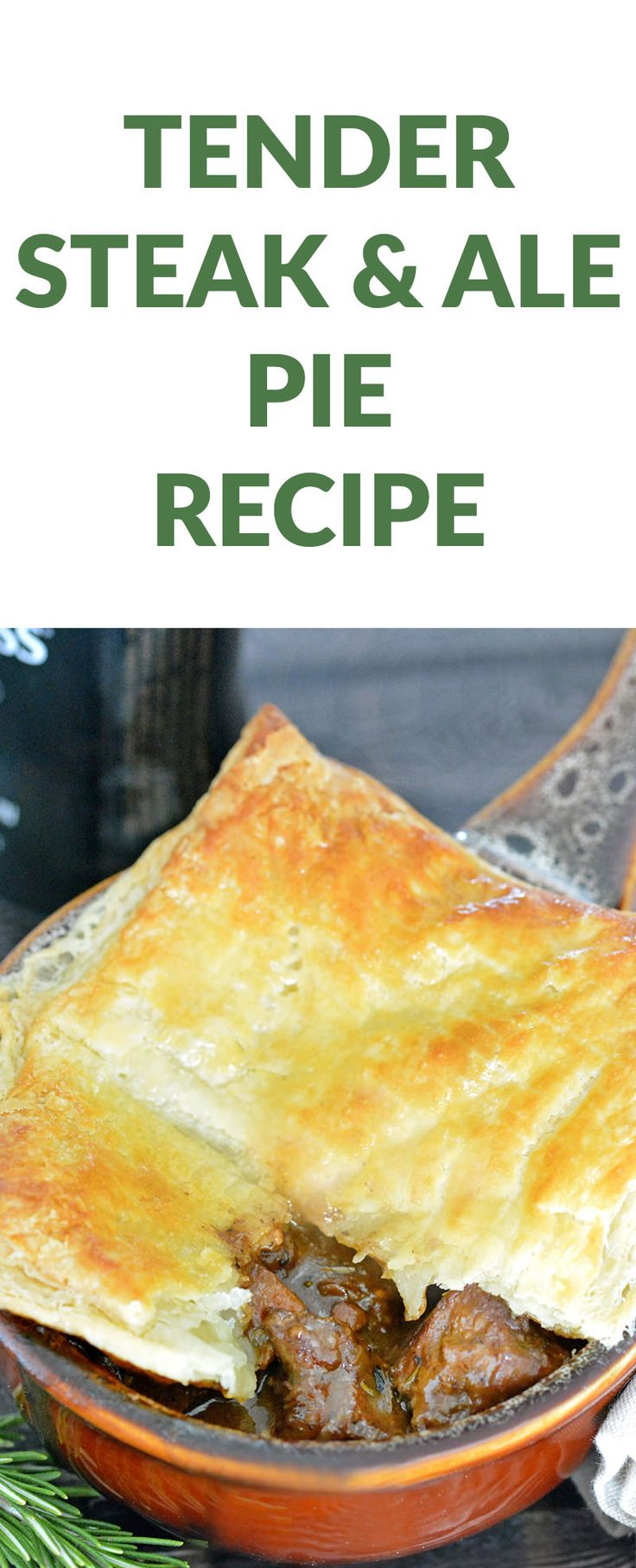 Hearty Steak and Ale Meat Pie Recipe loaded with tender steak, robust gravy, light pastry and Guinness! This is a PERFECT St. Patrick's Day Recipe. This dinner recipe will impress your family and friends. Use your favorite stout or ale beer. This steak recipe will be your favorite recipe for years to come.