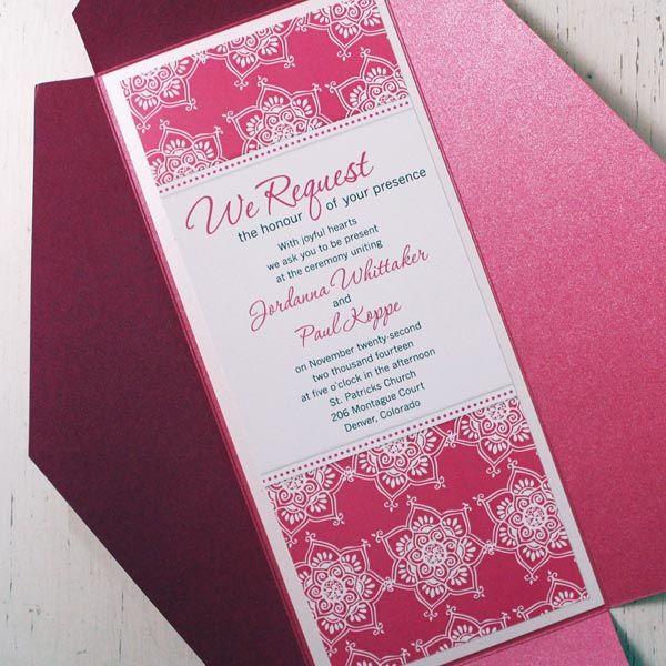 Pink Henna Wedding Invite Banff Invitations