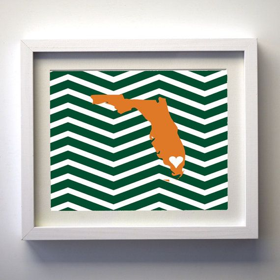 University of Miami State Green and Orange 8x10 by mysunshine7, $12.00