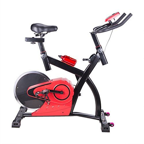 Pinty Upright Stationary Exercise Bike with LCD Screen Fitness Equipment for Indoor Cardio Workout Gym  Rear Wheel Style -- You can find out more details at the link of the image. (Note:Amazon affiliate link)