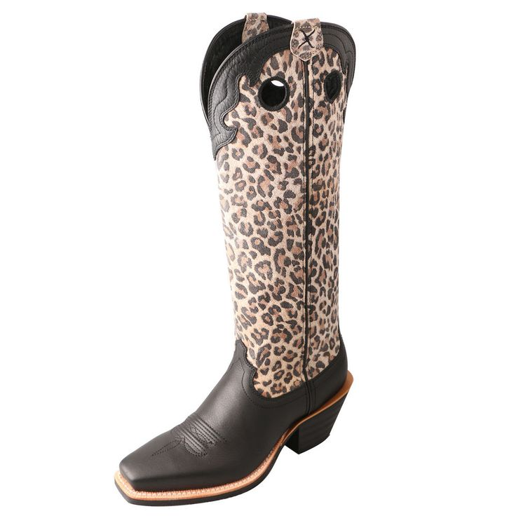 Twisted X Women's Snip Toe Leopard/Black Leather Cowgirl Boots #TwistedXBoots