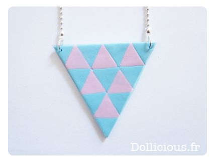 DIY Fimo - Collier triangles pastel