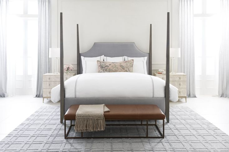 MG+BW: Create a grand setting in the bedroom with a new traditional style upholstered bed. Classic four-poster bed frame with tall, two-way tapered posts features an upholstered scalloped headboard and rails. Compatible with all MG+BW mattresses and adjustable bed platforms.