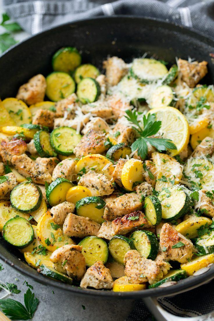 Skillet Lemon Parmesan Chicken Zucchini and Squash