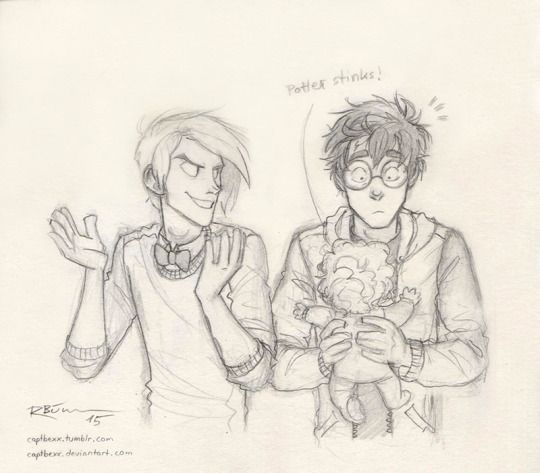 Draco, Teddy and Potter  Letting Draco be the babysitter might have been a stupid idea… XD by captbexx