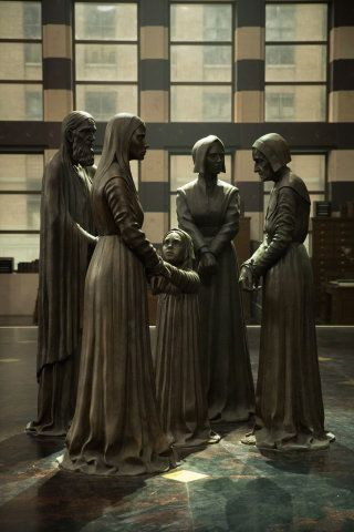 MACUSA Salem Witch Trials memorial statue - Step inside MACUSA with production designer Stuart Craig - Fantastic Beasts and Where To Find Them.