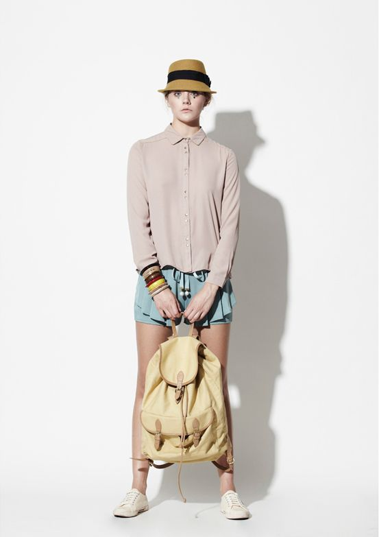 Twist X Turn SS13 Pastel Pink Shirt with Detailed  Shorts - Pastel, Fashion, Lookbook, Streetwear, Photography, Model, Ruffles, Pink, Shorts, Peplum, Sparkling, Detailed Sleeves, Hat, Minimalist, Simple, Sweet, Style, Stylist, Shirt