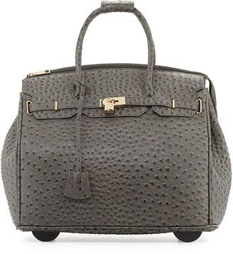 Jagger KC Kendall Ostrich-Embossed Faux Leather Rolling Bag, Gray #1010ParkPlace