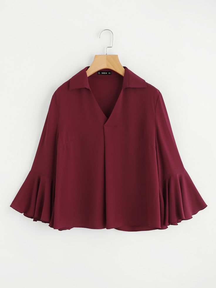 Shop Fluted Sleeve V Placket Fold Pleat Blouse online. SheIn offers Fluted Sleeve V Placket Fold Pleat Blouse & more to fit your fashionable needs.