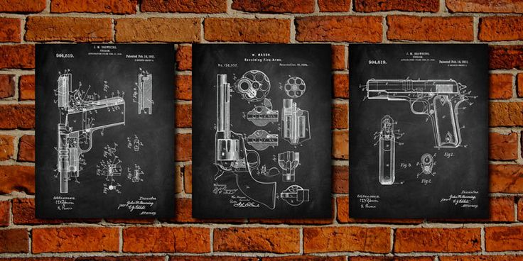 Guns Set - (3pc) Fine Art Paper Print - Firearm, Browning, Revolver - Gun Blueprint,  Gun Prints, Gun Wall Art, Gun Decor by PatentPrintsUSA on Etsy https://www.etsy.com/listing/242314800/guns-set-3pc-fine-art-paper-print