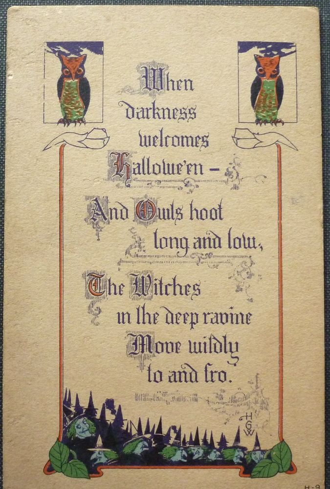 rare vintage halloween postcard nash owls witches ser h 9 good condition halloween - Good Halloween Poems