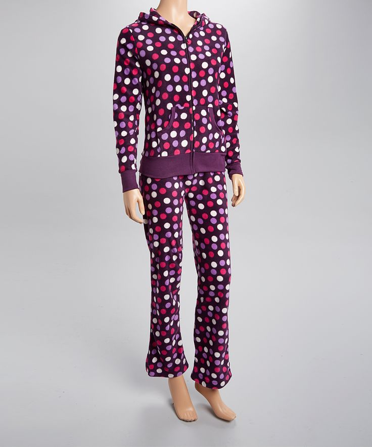 Purple & Pink Polka Dot Zip Up Hoodie Pajama Set