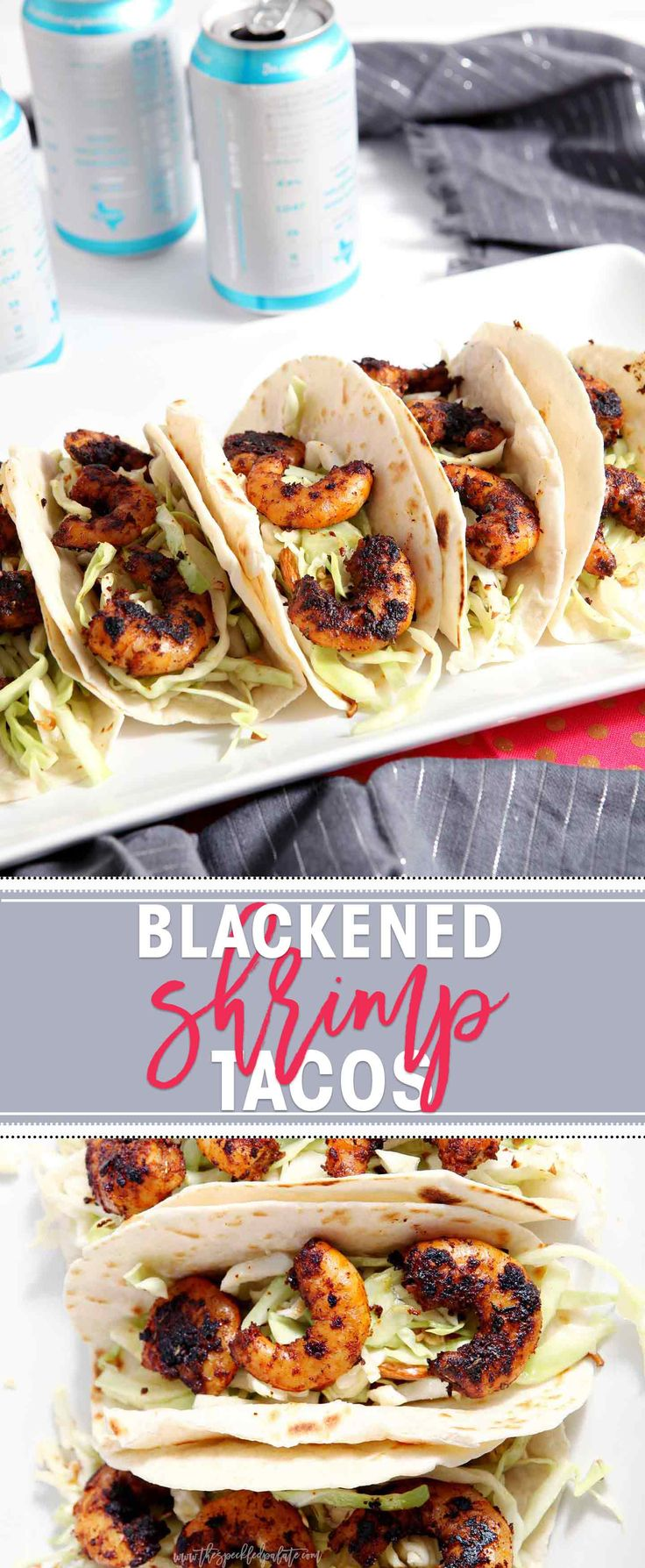 Blackened Shrimp Tacos with a crunchy coleslaw are the BEST entree to make at your football tailgate! These portable entrees are perfect for feeding a crowd!