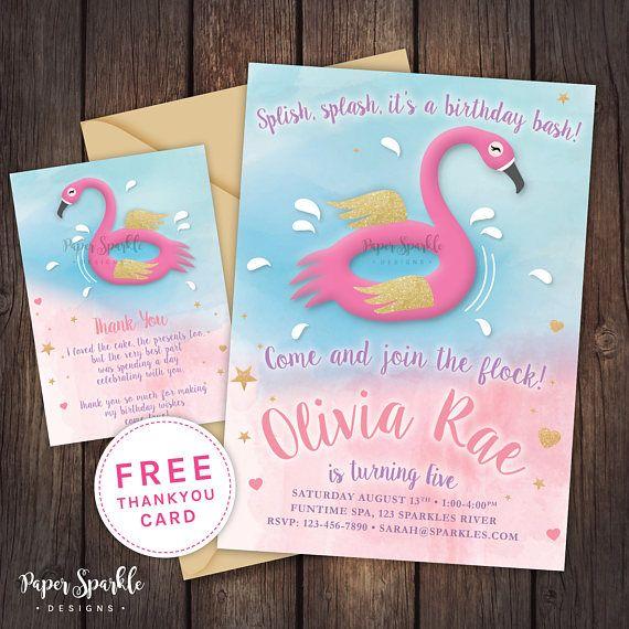 Flamingo invitation Flamingo partypool partypool party