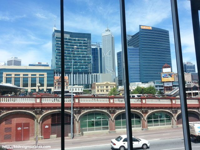 View of Perth CBD from the rehearsal room in State Theatre http://ktdesignsuccess.com/modernism-of-the-state-theatre-centre/
