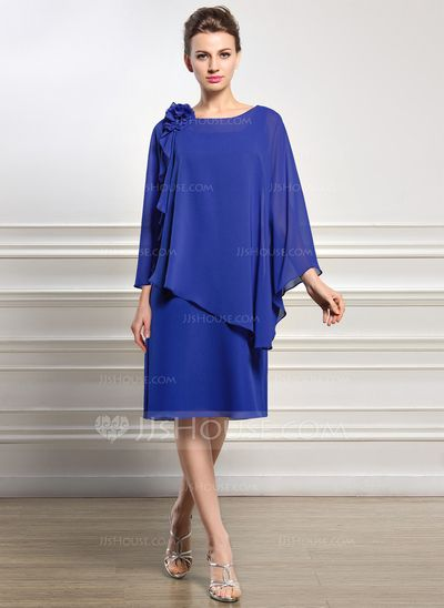 A-Line/Princess Scoop Neck Knee-Length Chiffon Mother of the Bride Dress With Beading Flower(s) Sequins (008056827)